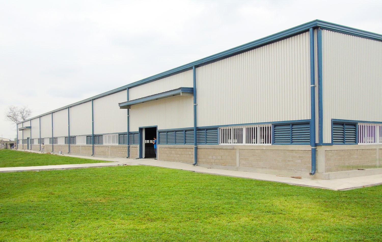Nhà xưởng sử dụng tôn lợp mái màu xanh dương và tôn lạnh ốp tường