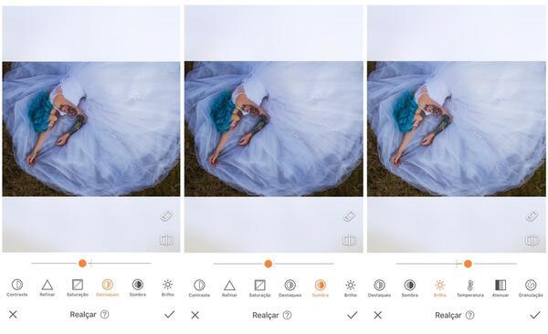 Foto da mulher deitada na grama com um vestido azul claro sendo editada pelo AirBrush com a ferramenta Realçar.