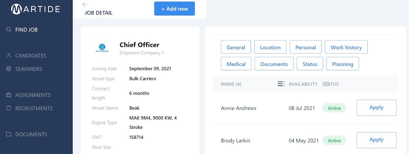 screenshot showing the job details screen