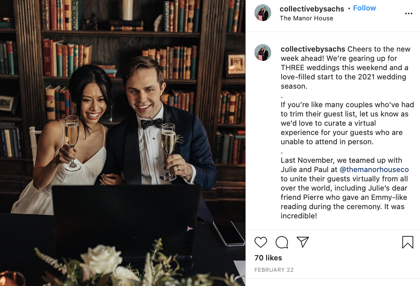 married couple with champagne using the computer