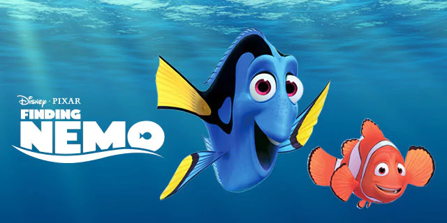 Movie poster for Finding Nemo, showing a blue cartoon fish and an orange cartoon fish swimming.