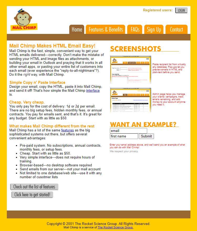 Come si presentava Mailchimp nel 2001