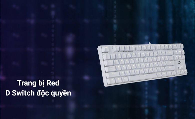 Bàn phím cơ DareU EK87 White Red D Switch (Trắng)   Trang bị công nghệ độc quyền