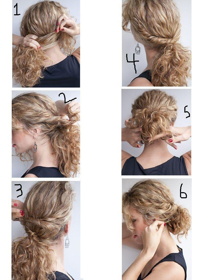 A collage of a person's hair  Easy Curled Updo hair styles