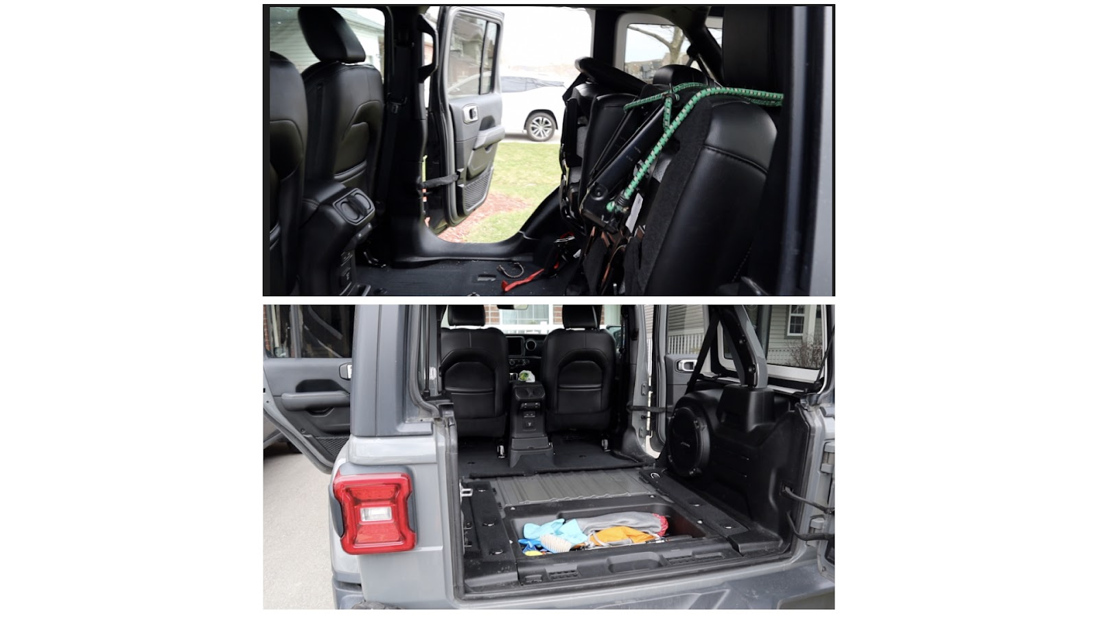 Tie Up Rear Seat to Lift out of Side or Rear Door openings.