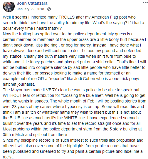 Facebook post by Catanzara with statement about a previous post of his