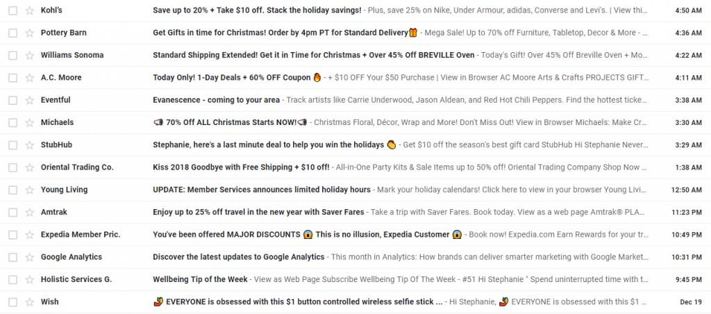 low open rate email example