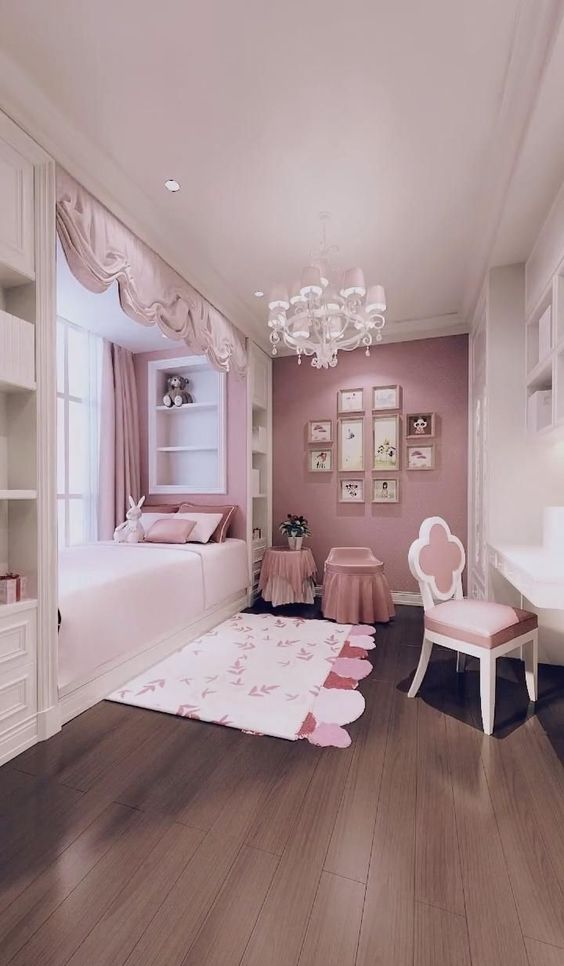 Storage Pink Bedroom for Small Rooms