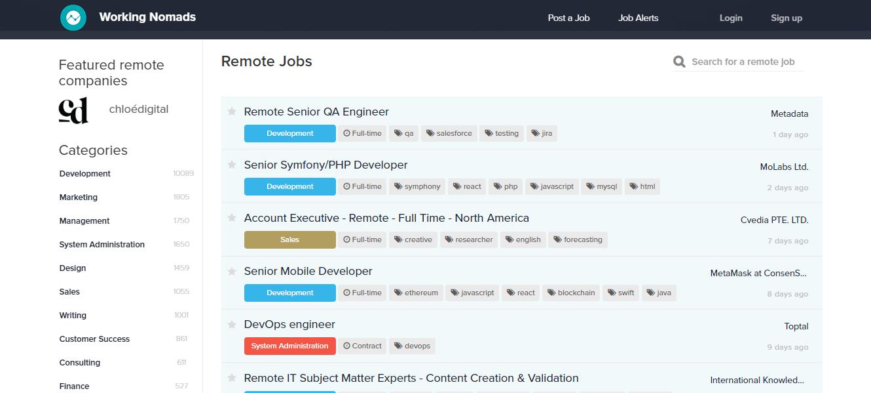Working Nomads - Remote Jobs Website, best job sites for remote work