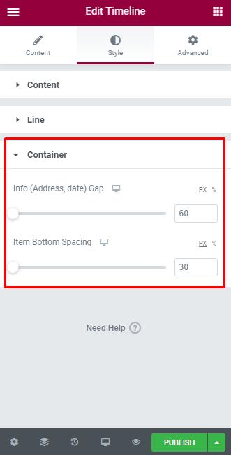 Wordpress elementor content timeline widget