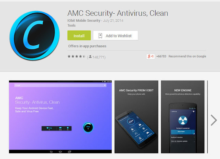 AMC Security- Antivirus, Clean on Google Play, Aug 2014