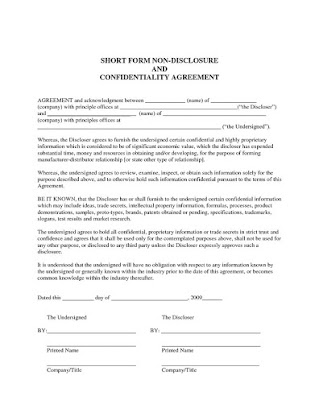Confidentiality Agreement For Business Plan Short Form