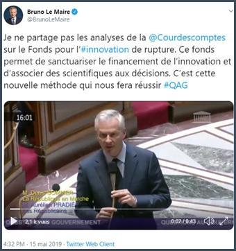 Bruno Le Maire Twitter je ne partage pas les analyses de la Cour des comptes sur le fonds d'innovation