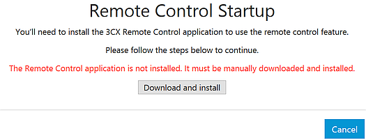 """3CX Remote Control Client Not Running"" warning message."