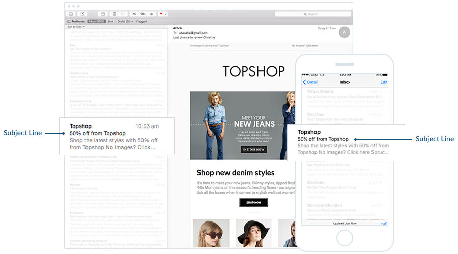 Email campaign example: TOPSHOP