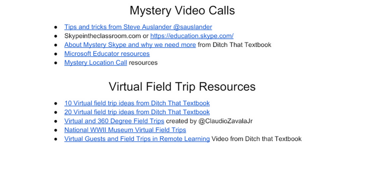Virtual Field Trips and Mystery Video Calls - Resources - Google Docs