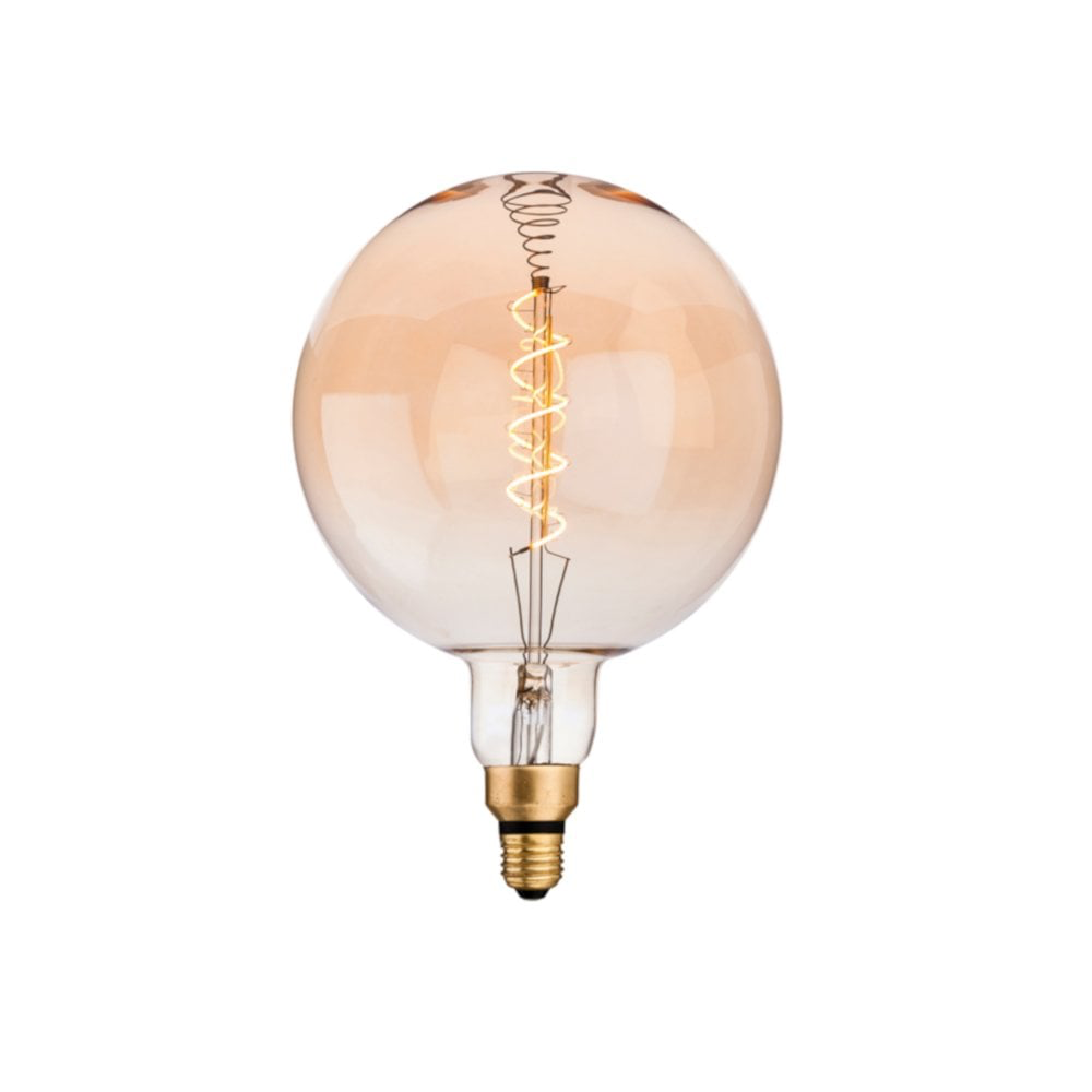 Firstlight  Vintage Large Round 4W E27 LED Filament Lamp Bulb, Amber Glass