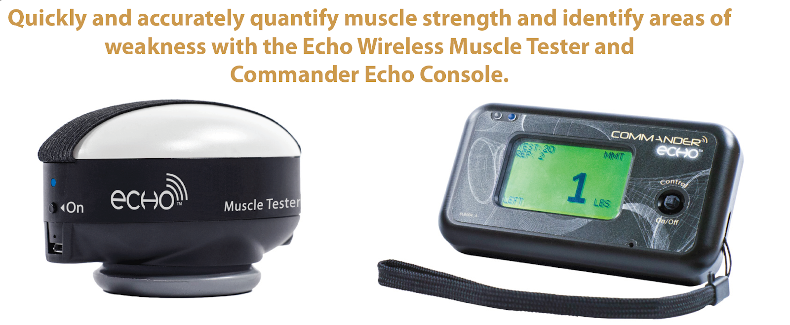 The Commander Echo manual muscle testing starter kit is used for evaluating muscle strength wirelessly using a hand held dynamometer
