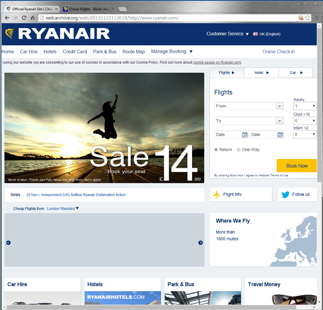 ryanair web site as per Jan 2014