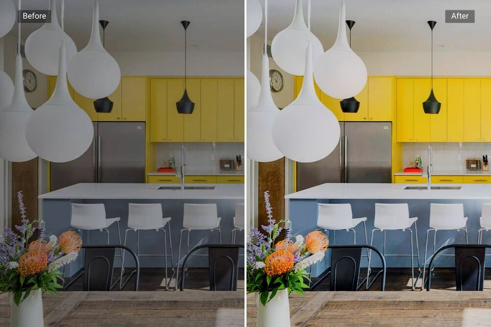 Real Estate Listing Kitchen before and after HDR