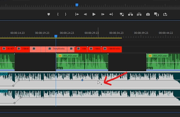 Premiere Pro - Hover over volume line to create keyframe