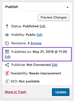 WordPress change your article publish date