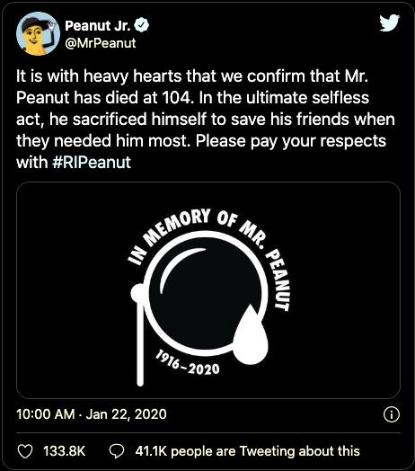 brand fail bad ad campaigns of 2020 mr peanut tweet that was in really poor taste