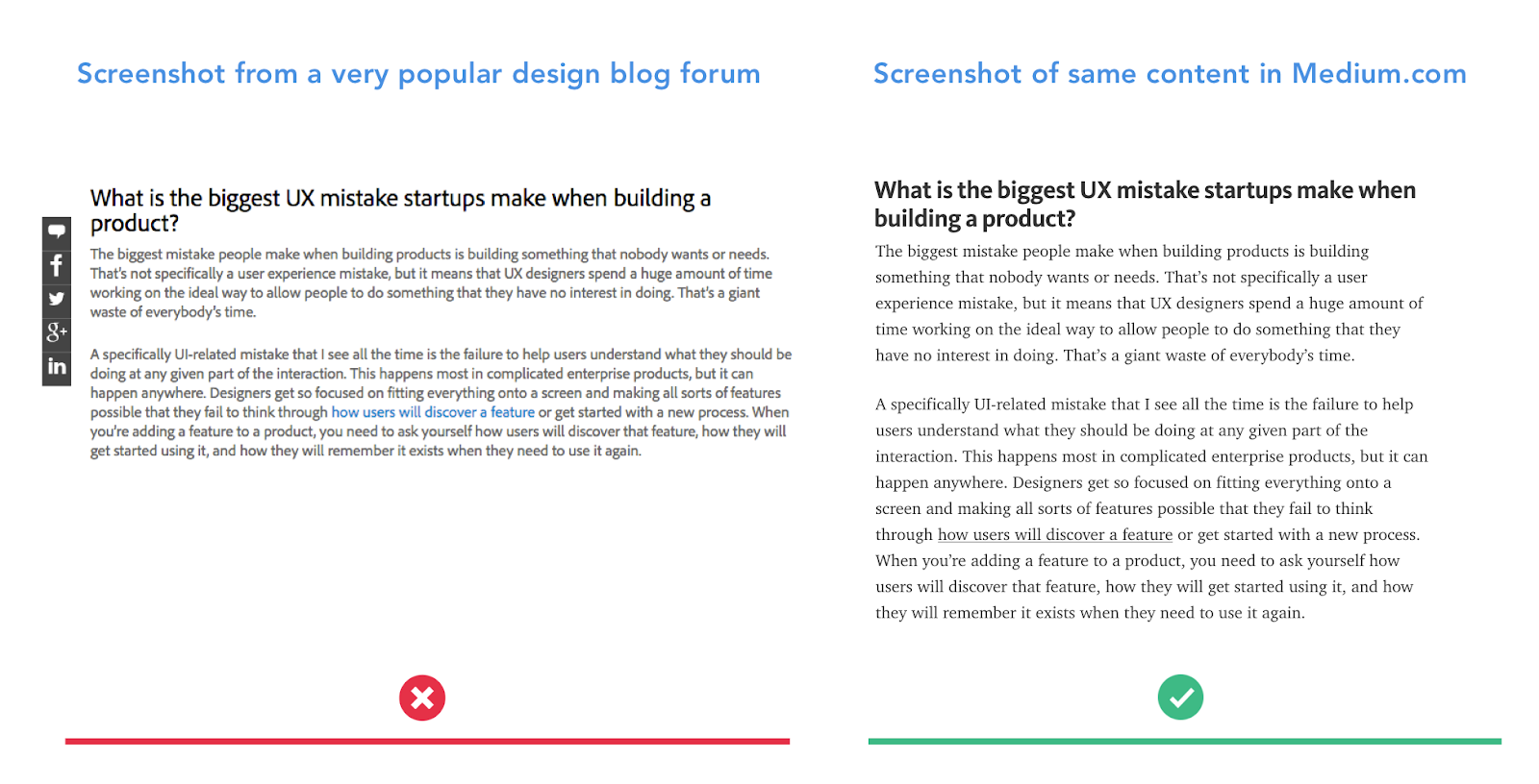 Image: Screenshots of same articles on two different blogs