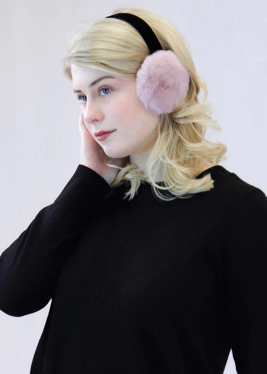 Faux Rex Rabbit Fur Earmuffs with Velvet Band