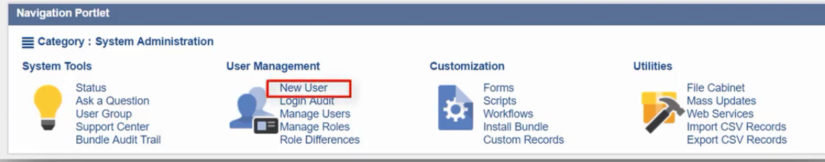 Example navigation portlet for a system administrator, showing system tools, user management, customization, and utilities links.