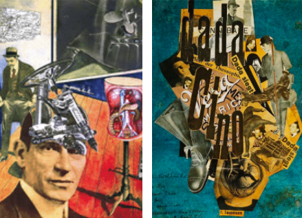 Combinations of collages and photomontages on Dadaism pieces.