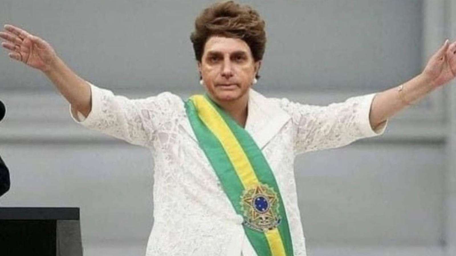 Meme de Bolsonaro: montagem do rosto de Bolsonaro no corpo da ex-presidente Dilma.