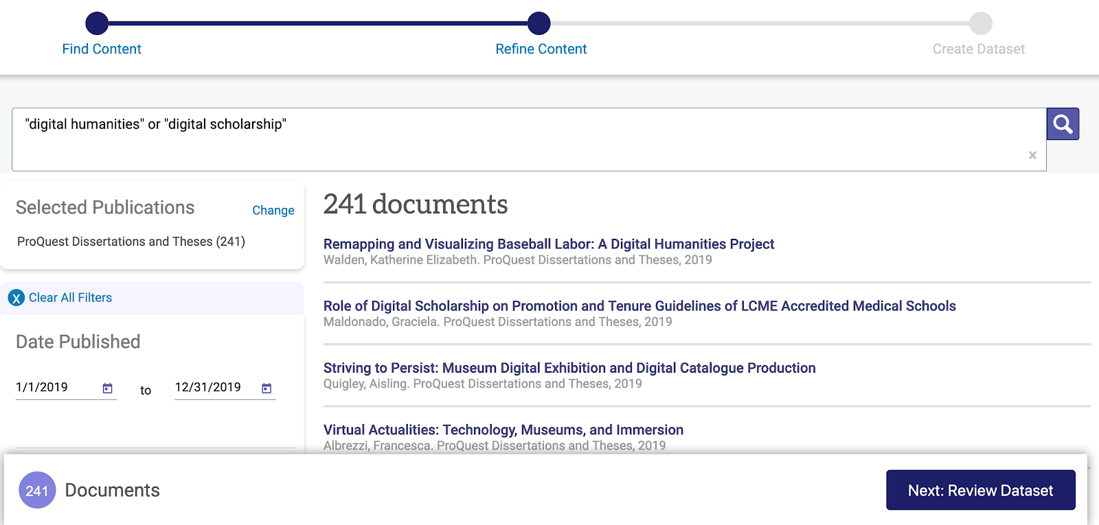 screenshot showing list of 241 search results and filtering options