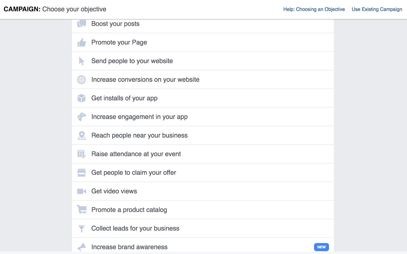 Choose a Campaign - Facebook Ad Account