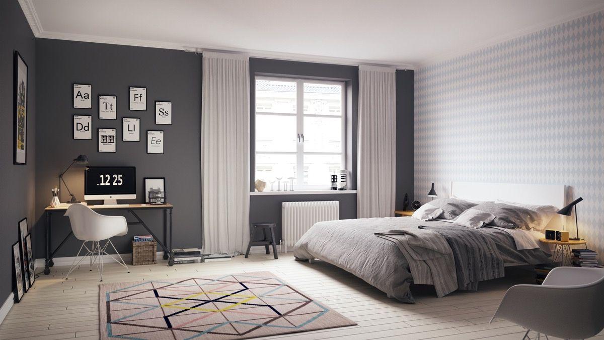 Inspirasi desain Scandinavian untuk kamar tidur pria - source: pinterest.com
