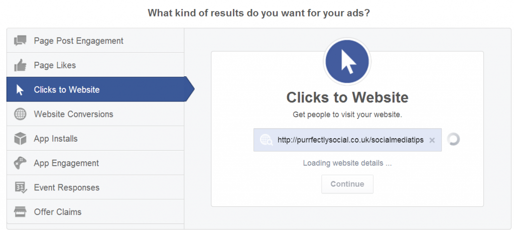 FB ads clicks to website