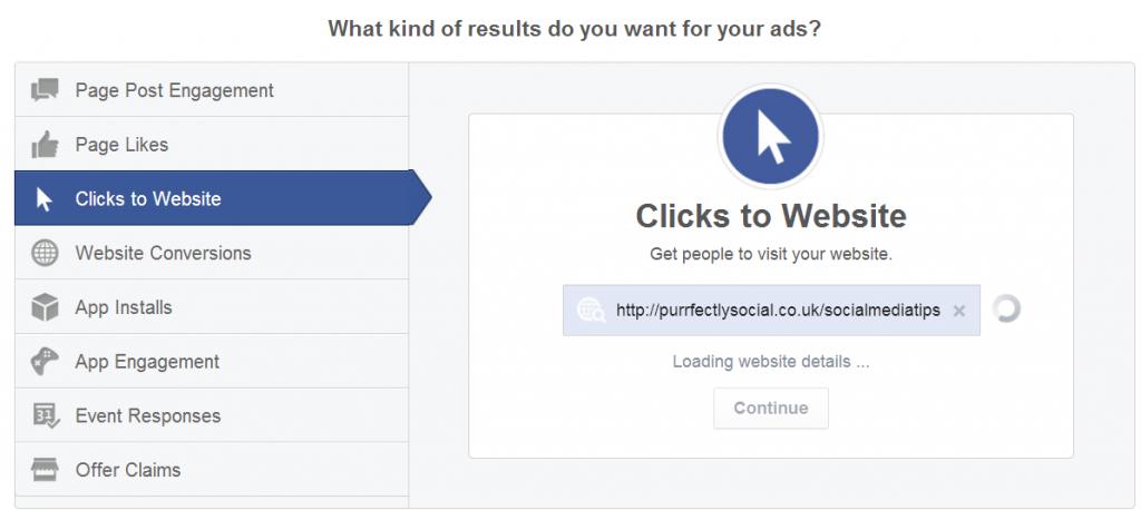 FB ads clicks to website