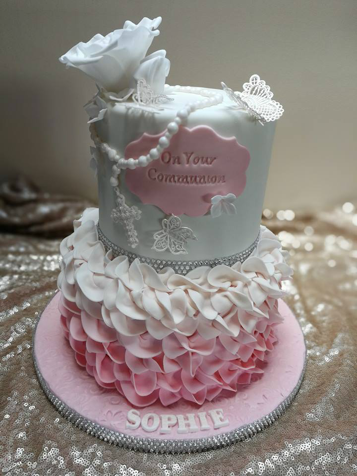 flower and butterfly Holy Communion cake