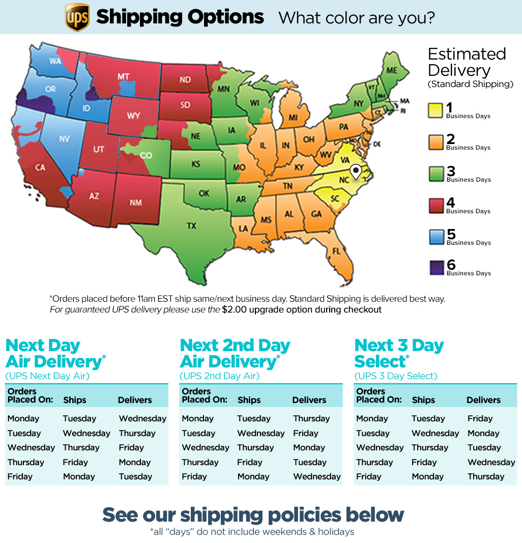 Detailed US shipping chart from an art store based in North Carolina