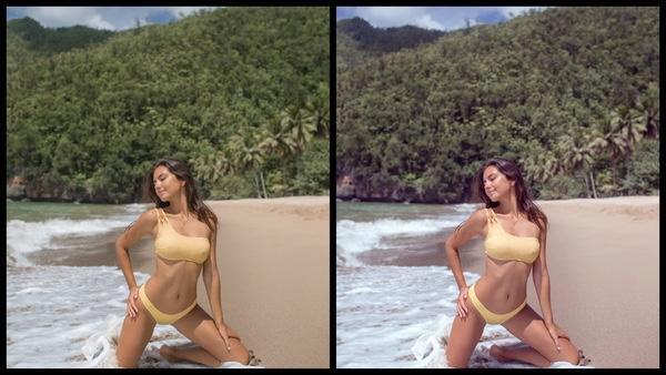Montagem de duas fotos usando a mesma mulher posando na praia. Foto 1 sem edições e foto 2 usando o Filtro Fawn