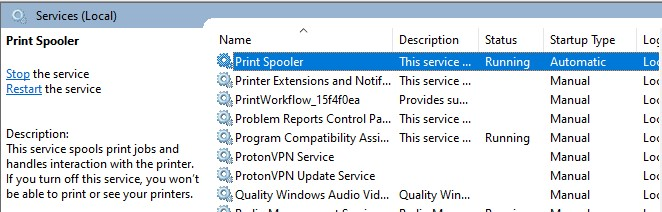 Print Spooler service in the Services Window