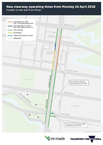 map showing Streamlining Hoddle_New Clearway_small