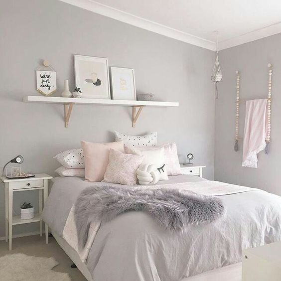 Gray and White Bedroom with Blush Pink Items