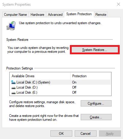 إستعادة نظام Windows 10 من خلال نقطة استعادة