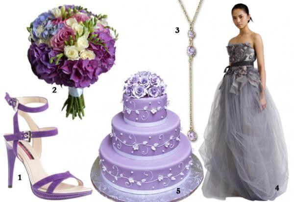 Свадебные аксессуары фиолетовых оттенков