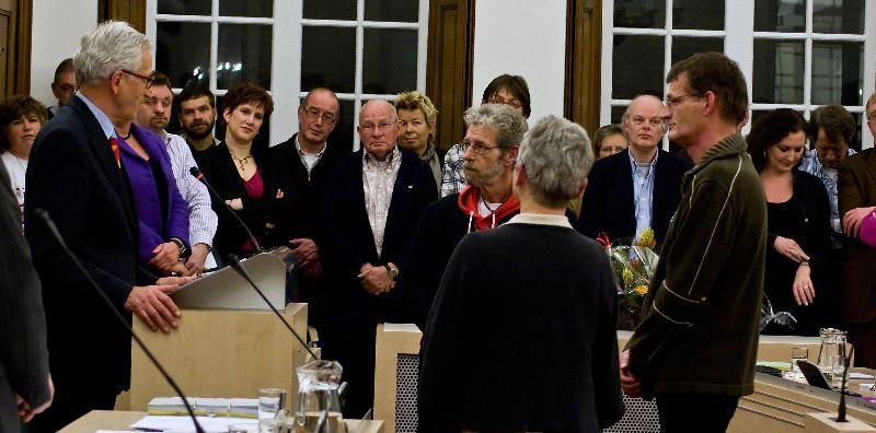 De beëdiging van Hans Kosters, Herman Torgensen en Corrie van Hoogmoed als nieuwe SP-raadsleden na de afdelingscrisis van 2007