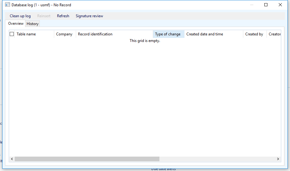 Database log