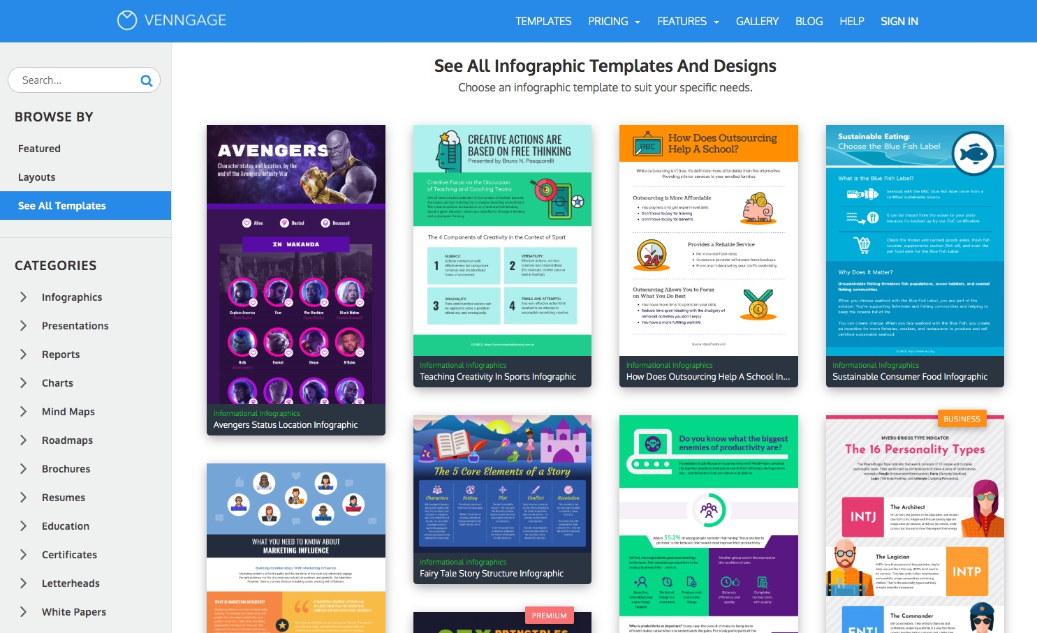 Venngage templates of infographics inside the tool