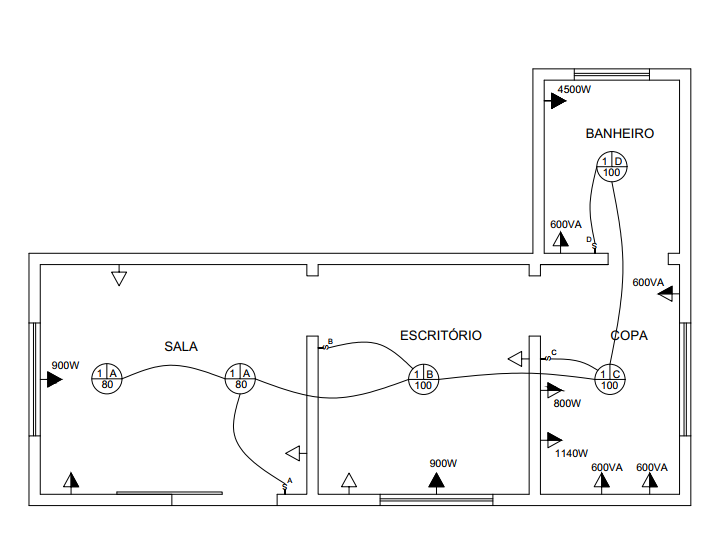 Projeto elétrico sem quadro de distribuição.