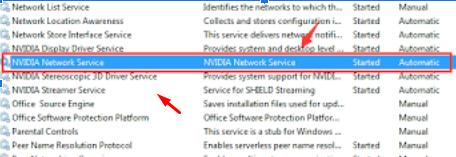 select NVIDIA Network Service